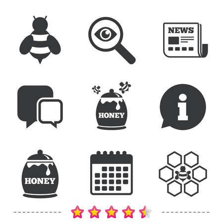 Honey icon. Honeycomb cells with bees symbol. Sweet natural food signs. Newspaper, information and calendar icons. Investigate magnifier, chat symbol. Vector Çizim
