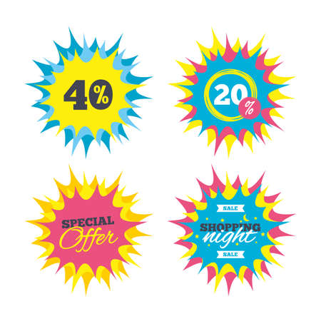 40: Shopping offers, special offer banners. 40 percent discount sign icon. Sale symbol. Special offer label. Discount star label. Vector Illustration