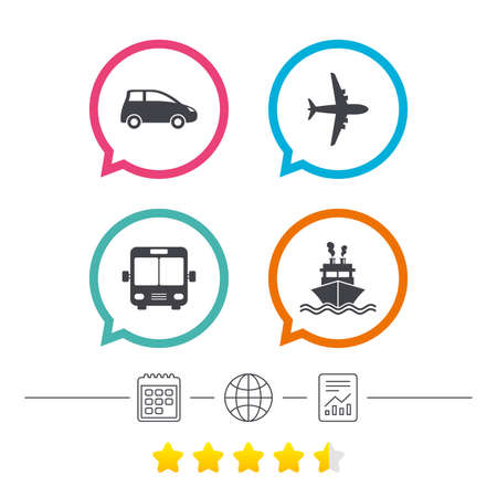 Transport icons. Car, Airplane, Public bus and Ship signs. Shipping delivery symbol. Air mail delivery sign. Calendar, internet globe and report linear icons. Star vote ranking. Vector Illustration
