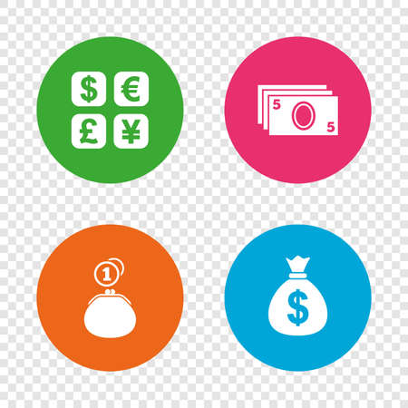 currency converter: Currency exchange icon. Cash money bag and wallet with coins signs. Dollar, euro, pound, yen symbols. Round buttons on transparent background. Vector