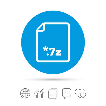 zipped: Archive file icon. Download compressed file button. 7z zipped file extension symbol. Copy files, chat speech bubble and chart web icons. Vector