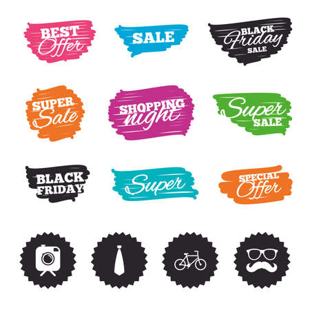 Ink brush sale banners and stripes. Hipster photo camera with mustache icon. Glasses and tie symbols. Bicycle family vehicle sign. Special offer. Ink stroke. Vector Illustration