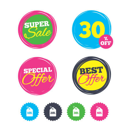 reductions: Super sale and best offer stickers. Sale price tag icons. Discount special offer symbols. 10%, 20%, 30% and 40% percent discount signs. Shopping labels. Vector Illustration