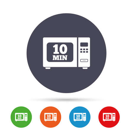 Cook in microwave oven sign icon. Heat 10 minutes. Kitchen electric stove symbol. Round colourful buttons with flat icons. Vector