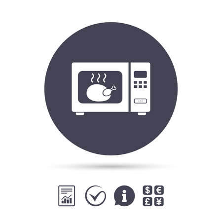 Microwave oven sign icon. Roast chicken. Kitchen electric stove symbol. Report document, information and check tick icons. Currency exchange. Vector