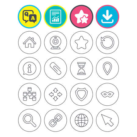 Report, download and star signs. Web elements icons. Paperclip, video camera and information speech bubble. Database, anonymous mask and secure shield. Question and answer or Q&A symbol. Flat buttons Illustration