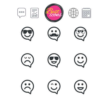 チャット音声バブル チャート、レポートおよびカレンダーのサイン。笑顔のスピーチの泡アイコン。幸せ、悲しい、ウインク印に直面しています。
