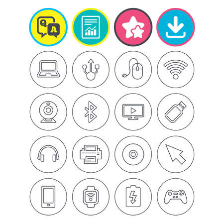 Report, download and star signs. Computer elements icons. Notebook, usb port and smartphone. Printer, smart watch and game console joystick. Bluetooth, flash stick and cursor pointer. Vector Illustration