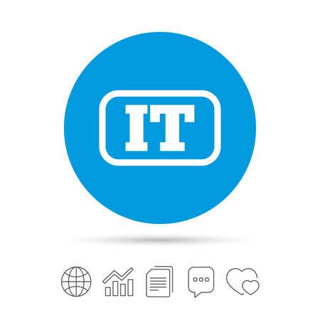 Italiaanse taal teken pictogram. IT Italië-vertaalsymbool met kader. Kopieer bestanden, praat tekstballonnen en grafiek web iconen. Vector Stock Illustratie