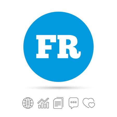 Franse taal teken pictogram. FR Frankrijk vertaalsymbool. Kopieer bestanden, praat tekstballonnen en grafiek web iconen. Vector
