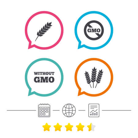 Agricultural icons. Gluten free or No gluten signs. Without Genetically modified food symbols. Calendar, internet globe and report linear icons. Star vote ranking. Vector Illustration