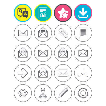 Report, download and star signs. Mail services icons. Send mail, paper clip and download arrow symbols. Scissors, pencil and refresh thin outline signs. Receive, select and delete mail. Vector