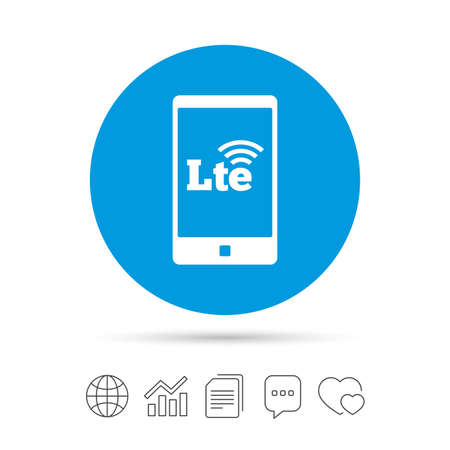 4G LTE sign in smartphone icon. Long-Term evolution sign. Wireless communication technology symbol. Copy files, chat speech bubble and chart web icons. Vector