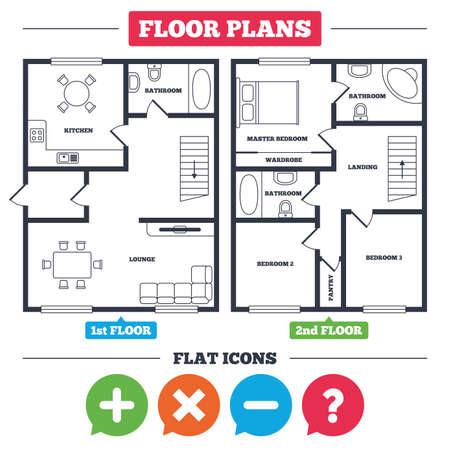 Architectuurplan met meubilair. Huis plattegrond. Plus- en minuspictogrammen. Verwijder en ondervraag FAQ-borden. Zoom symbool vergroten. Keuken, woonkamer en badkamer. Vector