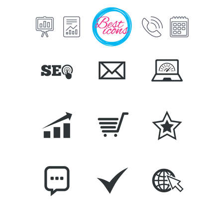 Presentation, report and calendar signs. Internet, seo icons. Tick, online shopping and chart signs. Bandwidth, mobile device and chat symbols. Classic simple flat web icons. Vector