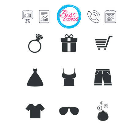 Presentation, report and calendar signs. Clothes, accessories icons. T-shirt, sunglasses signs. Wedding dress and ring symbols. Classic simple flat web icons. Vector