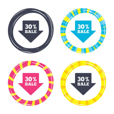 30% sale arrow tag sign icon. Discount symbol. Special offer label. Colored buttons with icons. Poker chip concept. Vector