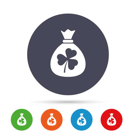 Money bag with three leaves clover sign icon. Saint Patrick trefoil shamrock symbol. Round colourful buttons with flat icons. Vector Illustration