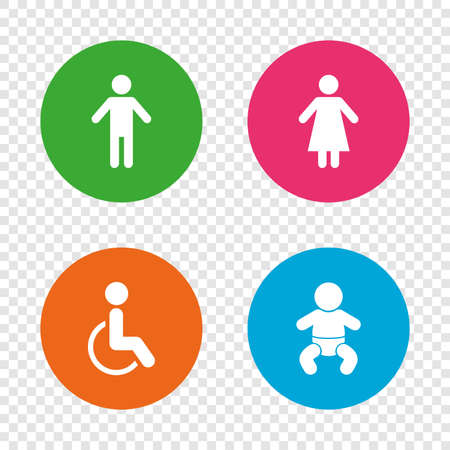 WC toilet icons. Human male or female signs. Baby infant or toddler. Disabled handicapped invalid symbol. Round buttons on transparent background. Vector Illustration