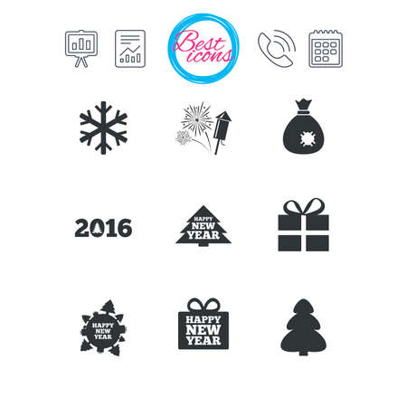 salut: Presentation, report and calendar signs. Christmas, new year icons. Gift box, fireworks and snowflake signs. Santa bag, salut and rocket symbols. Classic simple flat web icons. Vector