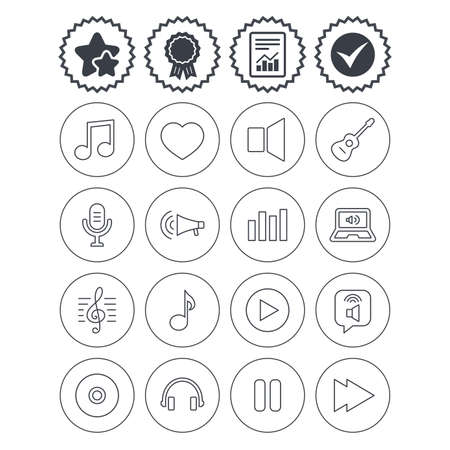 Report, check tick and award signs. Music icons. Musical note, acoustic guitar and microphone. Notebook, dynamic and headphones symbols. Best quality star symbol. Flat buttons. Vector Illustration