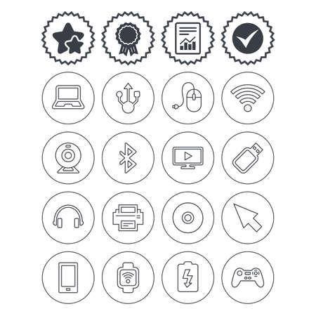 Report, check tick and award signs. Computer elements icons. Notebook, usb port and smartphone. Printer, smart watch and game console joystick. Bluetooth, flash stick and cursor pointer. Vector