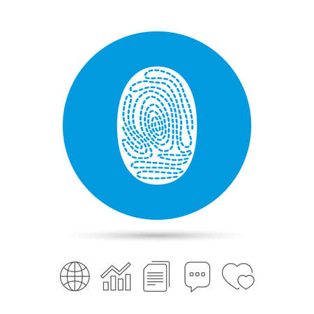 Fingerprint sign icon. Identification or authentication symbol. Copy files, chat speech bubble and chart web icons. Vector