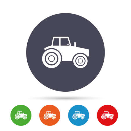 Tractor sign icon. Agricultural industry symbol. Round colourful buttons with flat icons. Vector Çizim