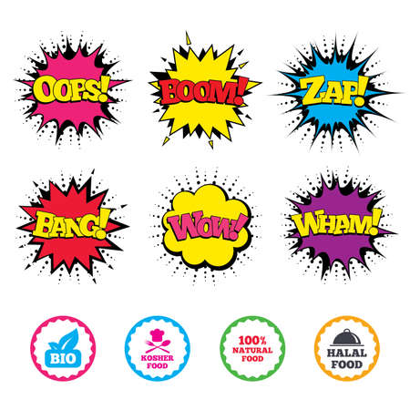 Comic Wow, Oops, Boom and Wham sound effects. 100% Natural Bio food icons. Halal and Kosher signs. Chief hat with fork and spoon symbol. Zap speech bubbles in pop art. Vector