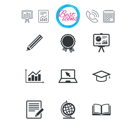 schoolbook: Presentation, report and calendar signs. Education and study icon. Presentation signs. Report, analysis and award medal symbols. Classic simple flat web icons. Vector Illustration