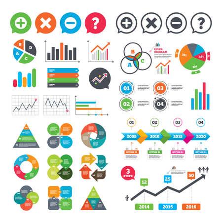 Zakelijke grafieken. Groeigrafiek. Plus- en minuspictogrammen. Verwijder en ondervraag FAQ-borden. Zoom symbool vergroten. Presentatie van het marktverslag. Vector