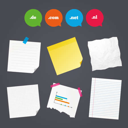 dns: Business paper banners with notes. Top-level internet domain icons. De, Com, Net and Nl symbols. Unique national DNS names. Sticky colorful tape. Speech bubbles with icons. Vector Illustration