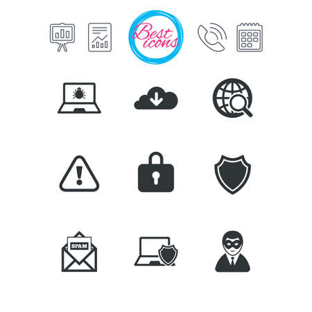 Presentation, report and calendar signs. Internet privacy icons. Cyber crime signs. Virus, spam e-mail and anonymous user symbols. Classic simple flat web icons. Vector