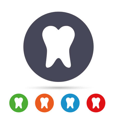 Tooth sign icon. Dental care symbol. Round colourful buttons with flat icons. Vector Illustration