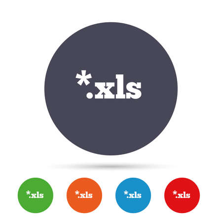 Excel file document icon. Download xls button. XLS file extension symbol. Round colourful buttons with flat icons. Vector Çizim