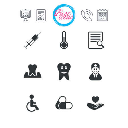 Presentation, report and calendar signs. Medicine, medical health and diagnosis icons. Capsules, syringe and doctor signs. Tooth parodontosis, disabled person symbols. Classic simple flat web icons Illustration
