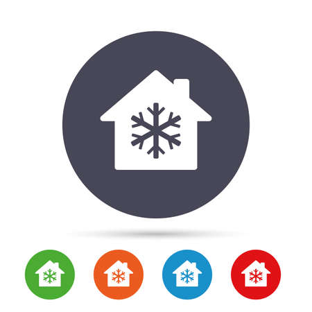 Air conditioning indoors icon. Snowflake sign. Round colourful buttons with flat icons. Vector