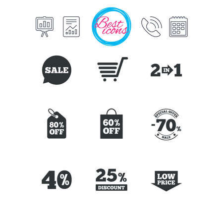 40: Presentation, report and calendar signs. Sale discounts icon. Shopping cart, coupon and low price signs. 25, 40 and 60 percent off. Special offer symbols. Classic simple flat web icons. Vector