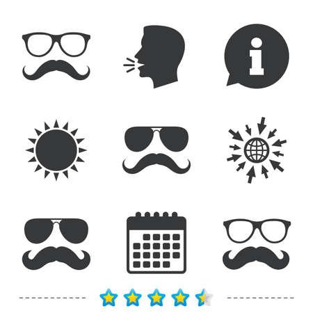 口ひげ、メガネのアイコン。流行に敏感なシンボル。顔の毛の兆候。については、web とカレンダーのアイコンに移動します。太陽し、シンボルを大