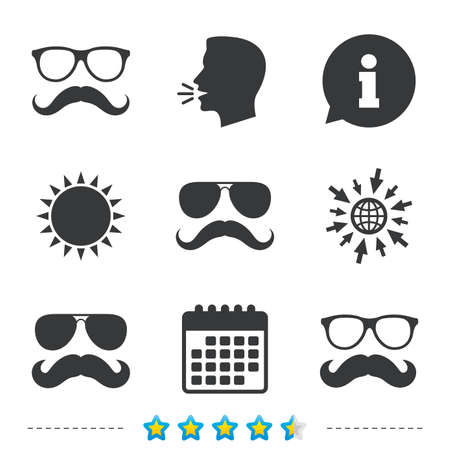 Mustache and Glasses icons. Hipster symbols. Facial hair signs. Information, go to web and calendar icons. Sun and loud speak symbol. Vector