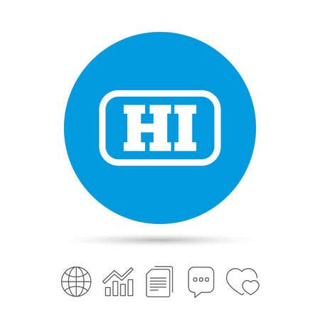 Hindi taalpictogram teken. HI India vertaalsymbool met frame. Kopieer bestanden, praat tekstballonnen en grafiek web iconen. Vector