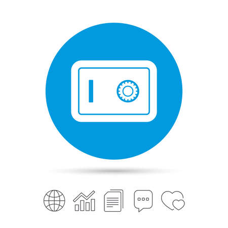 Safe sign icon. Deposit lock symbol. Protection for your documents in hotel. Copy files, chat speech bubble and chart web icons. Vector Иллюстрация