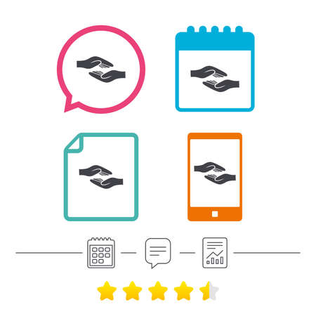 calendar icon: Helping hands sign icon. Charity or endowment symbol. Human palm. Calendar, chat speech bubble and report linear icons. Star vote ranking. Vector Illustration