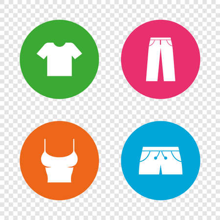 Clothes icons. T-shirt and pants with shorts signs. Swimming trunks symbol. Round buttons on transparent background. Vector Illustration