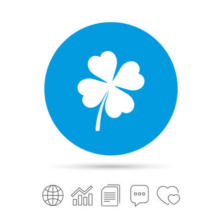 Clover with four leaves sign icon. Saint Patrick symbol. Copy files, chat speech bubble and chart web icons. Vector
