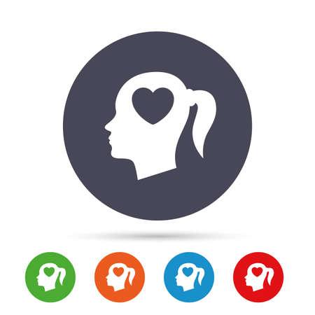 Kopf mit Herzschild-Symbol. Weiblicher Frauenmenschlicher Kopf in der Liebe mit Zopfsymbol. Runde bunte Knöpfe mit flachen Ikonen. Vektor Standard-Bild - 76311263