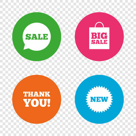 Sale speech bubble icon. Thank you symbol. New star circle sign. Big sale shopping bag. Round buttons on transparent background. Vector