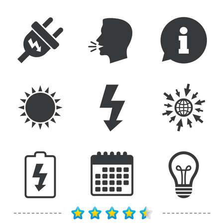 calendar icon: Electric plug icon. Lamp bulb and battery symbols. Low electricity and idea signs. Information, go to web and calendar icons. Sun and loud speak symbol. Vector