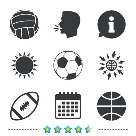 Sport balls icons. Volleyball, Basketball, Soccer and American football signs. Team sport games. Information, go to web and calendar icons. Sun and loud speak symbol. Vector Illustration