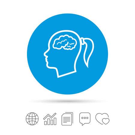 Kopf mit Gehirnzeichenikone. Weiblicher weiblicher menschlicher Kopf denken Symbol. Dateien kopieren, Chat-Sprechblase und Diagramm-Web-Symbole. Vektor Standard-Bild - 76311333
